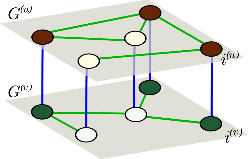 Activator-inhibitor system organized in multiplex network.